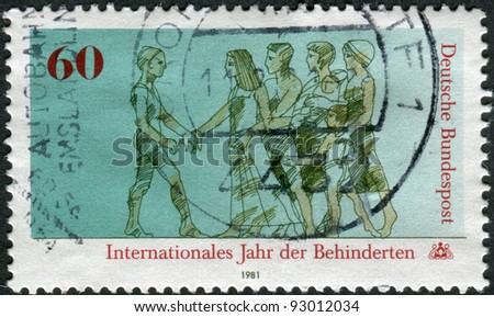 GERMANY - CIRCA 1981: A stamp printed in the Germany, dedicated to the International Year of the Disabled, circa 1981