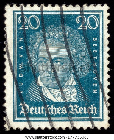 GERMANY - CIRCA 1927: A stamp printed in the Germany shows Ludwig van Beethoven, Composer, circa 1927