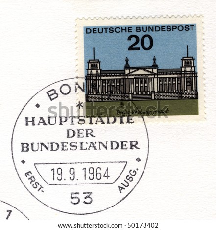 GERMANY - CIRCA 1964:  special postmark on a stamp showing reichstag building, berlin, Germany, circa 1964