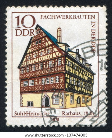 - stock-photo-germany-circa-stamp-printed-by-germany-shows-town-hall-suhl-heinrichs-circa-137474003