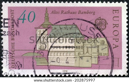 GERMANY - CIRCA 1978: stamp printed in Germany, shows old city, circa 1978.
