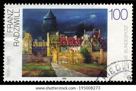 GERMANY- CIRCA 1995: stamp printed in Germany, shows The Water Tower in Bremen, by Franz Radziwill, circa 1995.