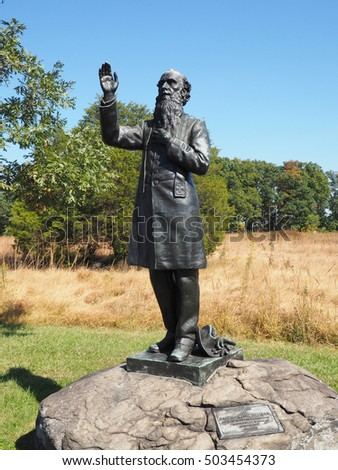 Gettysburg, PA, USA - October 15, 2016:  Father William Corby statue