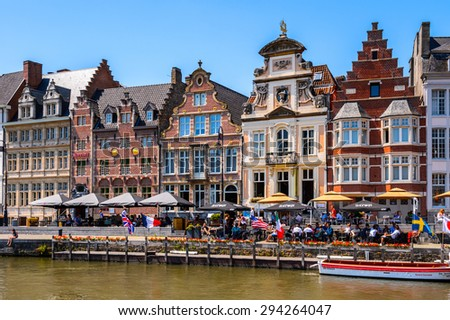 GHENT, BELGIUM  - JUN 5, 2015: Architecture of the historic part of Ghent, Belgium. Ghent is the capital and largest city of the East Flanders province