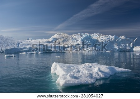 Giant Icebergs of Disko Bay near Illulisat, Greenland, a popular cruise destination