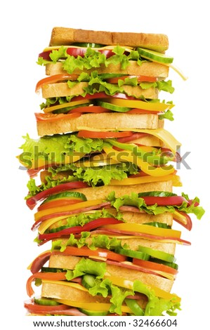 Giant sandwich isolated on the white background