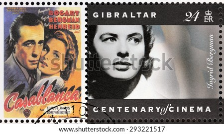 GIBRALTAR - CIRCA 1995. A postage stamp printed by GIBRALTAR shows Swedish actress Ingrid Bergman and American actor Humphrey Bogart starring in the film Casablanca, circa 1995.