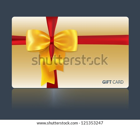Gift and greeting card with yellow bow and red ribbon for celebrations and holidays