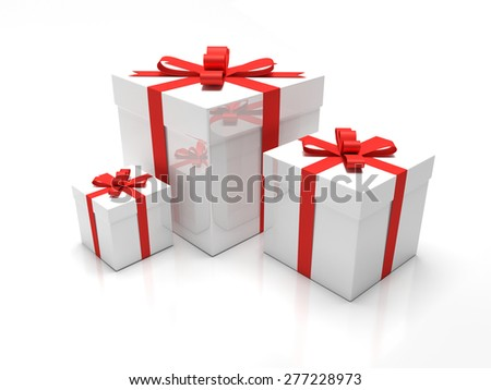 Gift Box - A set of three white gift boxes with red ribbon around it. Presents for christmas time or valentines day.