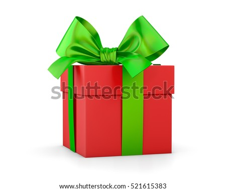 gift box for Christmas, New Year's Day , red green gift box white background 3d rendering