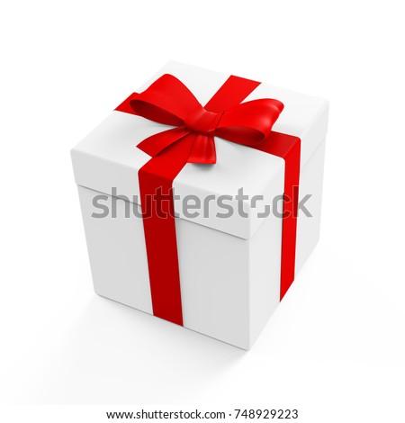 Gift Box On White Background 3d Stock Illustration 106152755 ...