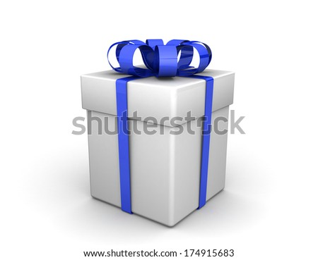 Gift box, with a blue ribbon like a present. over white background. 3d illustration