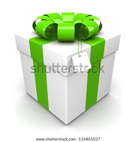 gift box, with a green ribbon like a present. over white background 3d illustration.