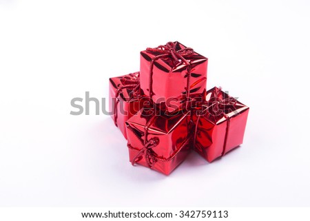 Gift boxes and Christmas,Isolated on white.