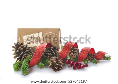 Gift boxes with Christmas decoration isolated on a white background