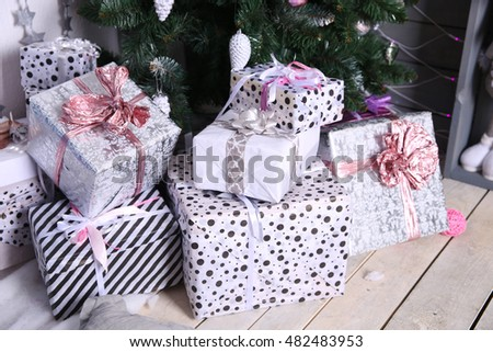 Gift boxes with Christmas tree and vintage decorations