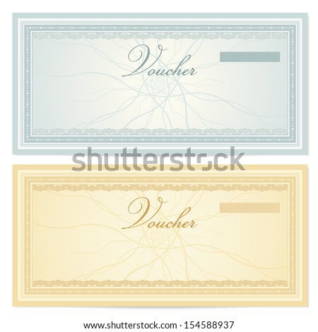 Gift Certificate Voucher Coupon Template Guilloche – Money Note Template