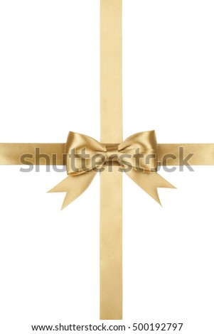 Gift concept. golden bow isolated on white background