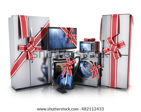 Gift modern consumer electronics,Fridge,washer and electric-cooker (done in 3d rendering)
