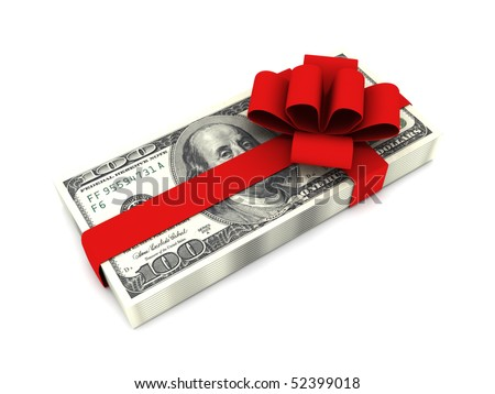 Gift of money. Stack of dollar bills with red ribbon isolated on white background. High quality 3d render.