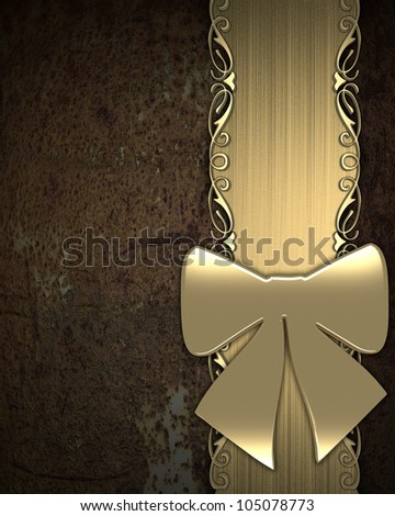 Gift ribbon on rusty background (gold)