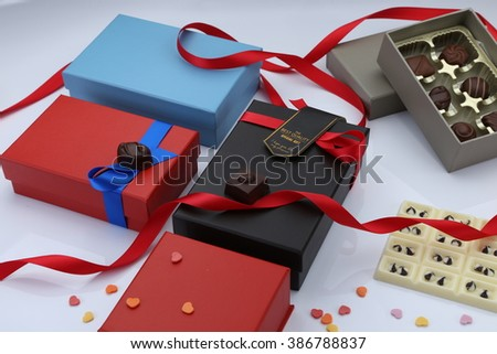 Gifts  box and chocolates with white background