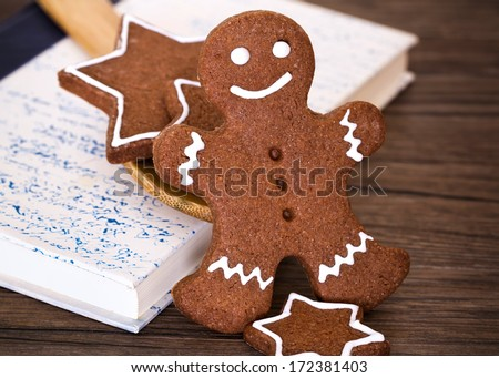 Gingerbread man, cookies and cookbook, cookies for Christmas