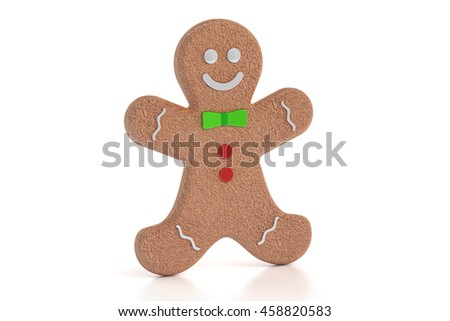 Gingerbread man, 3D rendering isolated on white background