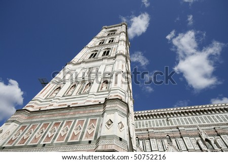 Giotto's Campanile - bell tower of famous Basilica di Santa Maria del Fiori, cathedral church of Florence in Italy