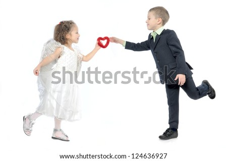 girl angel gives the boy's heart