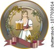 girl blond beer waitress, label - stock photo