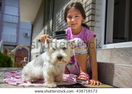 Girl brushing dog