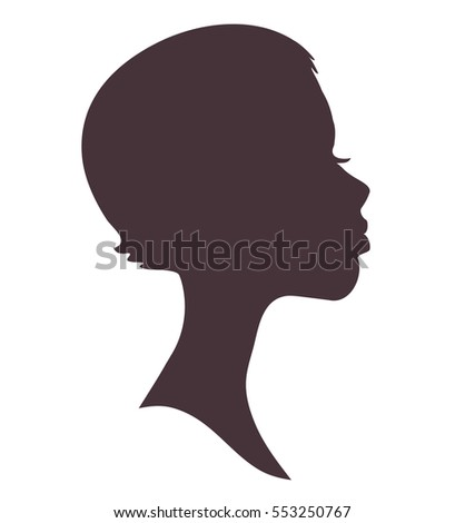 African Woman Man Face Silhouette Young Stock Vector