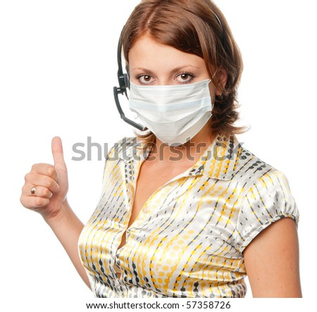 Girl in a medical mask and ear-phones with a microphone