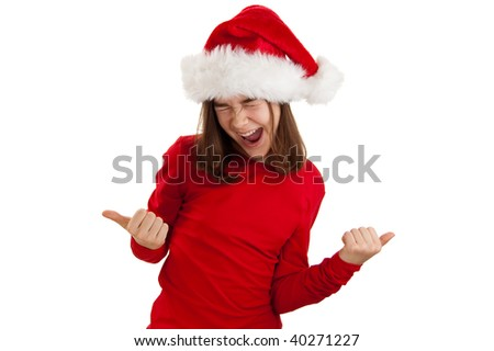 Girl in disguise Santa Claus showing OK sign isolated on white background