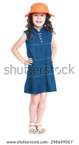 Girl in jeans dress and hat.Isolated on white background, Lotus Children's Center