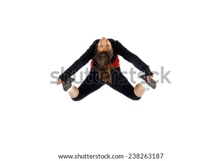 Stock Photo Wild Man Wearing A Tiger Skin Jumping Against