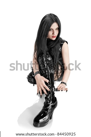 Girl in the Gothic style, isolated on white