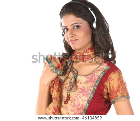 girl listening music with head phones