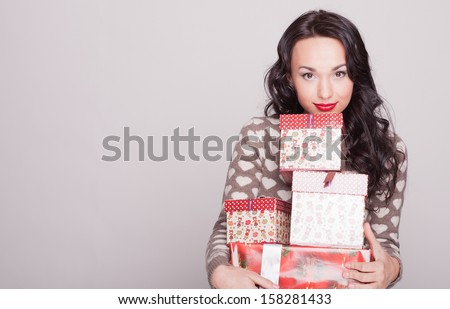 girl New Year's with gifts