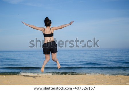 girl on vacation in beach