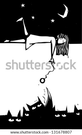 Girl playing with shadows using a cat toy