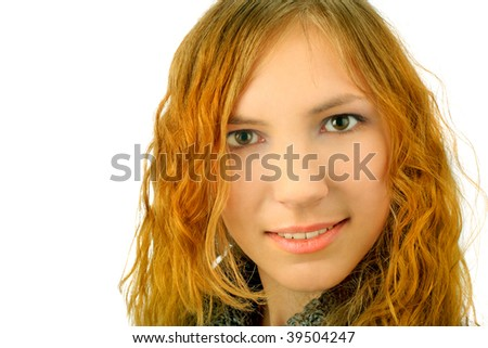 girl portrait on a wite background