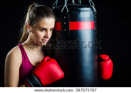 Girl relaxing in box training