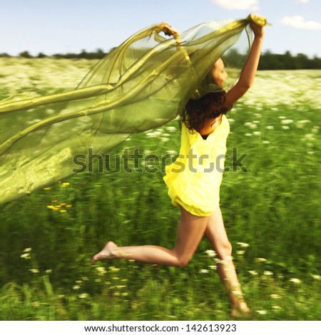 girl run  fabric in she hands