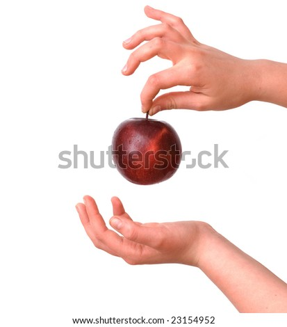 Girl's hands with  apple  isolated on white background