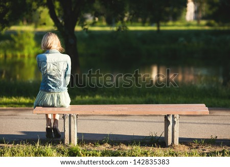 Girl Sitting Alone On Bench girl sitting alone on bench