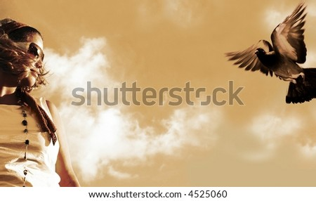 Girl watching a flying pigeon - sepia tone