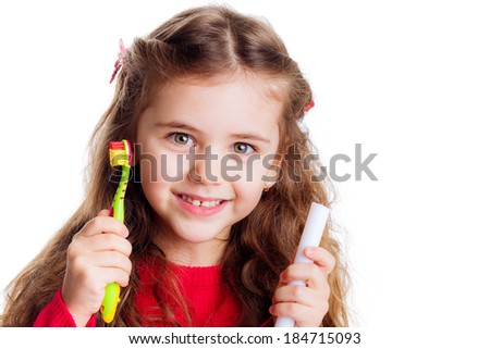 girl with a toothbrush. brush your teeth. hygiene. dental health