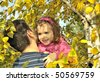 girl with father - stock photo